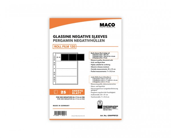 MACO Glassine Negative Sleeves for medium format (6x6 / 6x7) | 25 sheets