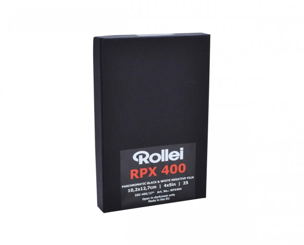 "Rollei RPX 400 sheet film 4x5"" (10.2x12.7cm) 25 sheets"