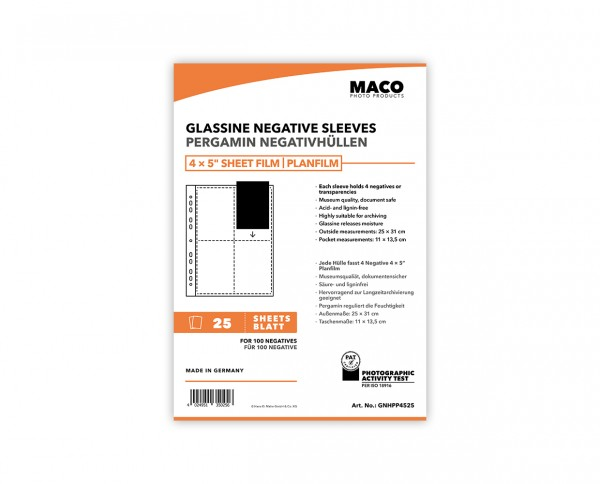 MACO Glassine Negative Sleeves for 4x5' sheet film | 25 sheets