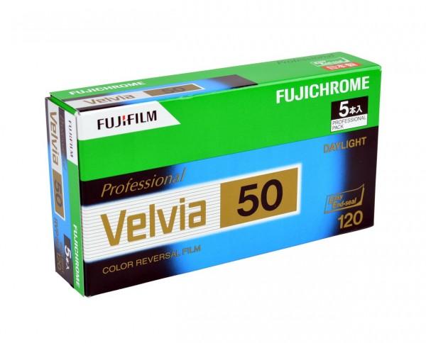 Fuji Velvia 50 roll film 120 pack of five