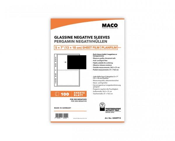 MACO Pergamin Negativhüllen für 5x7' (13x18cm) Planfilm | 100 Blatt