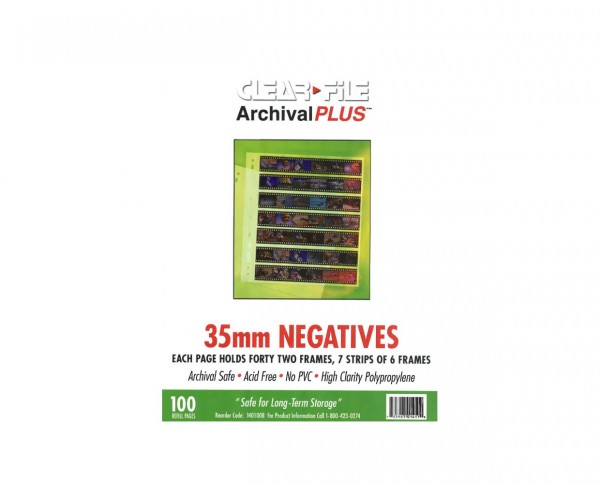 Clearfile PP negative sleeves (6 frames) for 35mm format 100 sheets