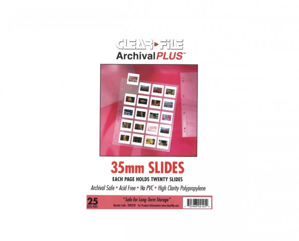 Clearfile PP slide film sleeves fits 20 slide films 25 sheets