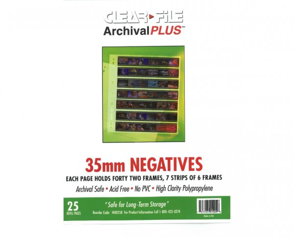 Clearfile PP negative sleeves (6 frames) for 35mm format 25 sheets