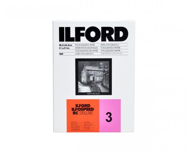 """Ilford Ilfospeed RC De Luxe glänzend (1M) Gradation 3 24x30,5cm (9,5x12"""") 50 Blatt"""