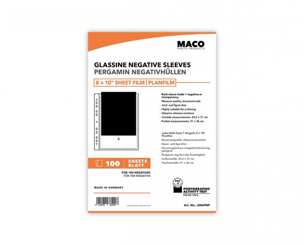 MACO Glassine Negative Sleeves for 8x10' sheet film | 100 sheets