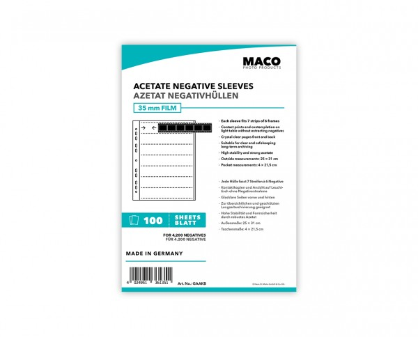 MACO Acetate Negative Sleeves for 35mm Films | 100 sheets