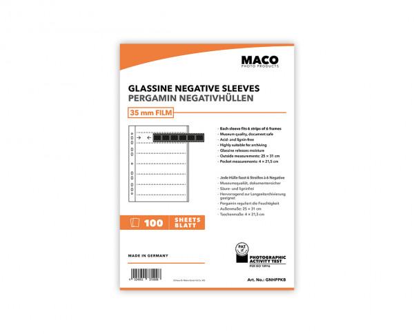 MACO Glassine Negative Sleeves for 35mm Films | 100 sheets of 6 strips