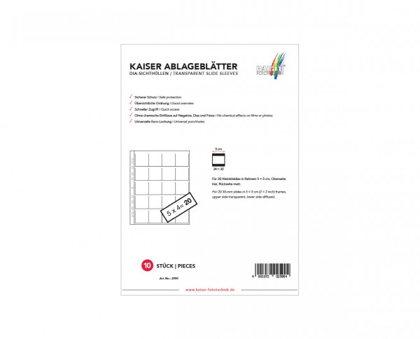 Kaiser | PP transparent slide film sleeves fits 20 slide films 10 sheets