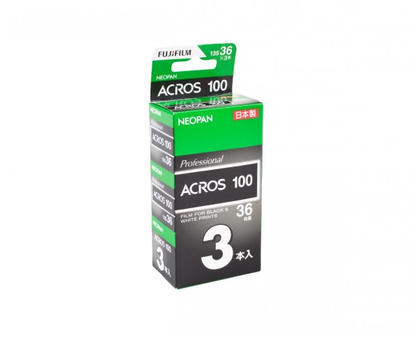 Fuji Neopan Acros 100 35mm 36 exposures pack of three EXP 10-2019